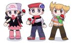 1girl 2boys :d beanie black_hair blonde_hair boots brown_eyes brown_footwear brown_pants closed_mouth commentary_request dress flat_chest frown full_body hat hikari_(pokemon) holding holding_poke_ball jun_(pokemon) kouki_(pokemon) long_hair looking_at_viewer multiple_boys open_mouth pants pink_footwear poke_ball poke_ball_(generic) pokemon pokemon_(game) pokemon_dppt red_footwear red_headwear riybzbz shoes simple_background smile standing white_background white_headwear