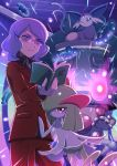 1boy absurdres animal_on_head book bronzong bronzor espeon glasses glowing glowing_eyes goyou_(pokemon) highres holding holding_book kirlia mr._mime on_head pokemoa pokemon pokemon_(game) pokemon_dppt purple_hair red_eyes tagme tinted_eyewear wavy_hair