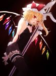 1girl :d animal_ears bangs bare_arms bare_shoulders black_background black_bow black_legwear black_leotard black_neckwear blonde_hair bow bowtie breasts bunny_tail bunnysuit commentary_request crystal detached_collar dutch_angle eyebrows_visible_through_hair fake_animal_ears fake_tail flandre_scarlet hair_between_eyes hand_up hat hat_bow honotai leg_garter leotard long_hair looking_at_viewer mob_cap one_side_up open_mouth pantyhose pointy_ears pole rabbit_ears red_bow red_eyes simple_background small_breasts smile solo strapless strapless_leotard tail thighs touhou white_headwear wings wrist_cuffs