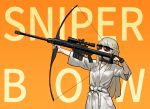 1girl aiming bathrobe black_gloves blonde_hair bow_(weapon) braid copyright_request english_text facing_viewer french_braid gloves gogalking gun highres holding holding_bow_(weapon) holding_weapon korean_commentary long_hair orange_background partly_fingerless_gloves rifle short_sleeves single_glove sniper_rifle solo sunglasses weapon you're_doing_it_wrong