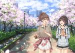 2girls :d backpack bag bare_shoulders black_hair black_shorts blue_eyes blue_hoodie blue_sky blush bridge brown_hair brown_shirt building cherry_blossoms clothes_around_waist clouds cloudy_sky collarbone commentary_request crepe cup day disposable_cup drawstring drinking_straw food grey_eyes hair_ornament hairclip high_ponytail holding holding_cup holding_food hood hood_down hoodie jacket jacket_around_waist lamppost miko_fly multiple_girls open_mouth original outdoors park petals plaid_jacket pleated_skirt ponytail red_jacket river shirt short_shorts shorts shoulder_bag skirt sky skyscraper smile standing tree upper_teeth white_skirt