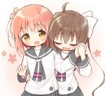 2girls :d ayanepuna bangs blush bow brown_eyes brown_hair closed_eyes commentary_request eyebrows_visible_through_hair fang gradient gradient_background grey_neckwear grey_sailor_collar grey_skirt hair_between_eyes hair_bow hand_on_another's_waist highres holding_hands ichinose_hana long_hair long_sleeves momochi_tamate multiple_girls open_mouth pink_background pleated_skirt sailor_collar school_uniform serafuku shirt skirt sleeves_past_wrists slow_start smile twintails very_long_hair white_bow white_shirt