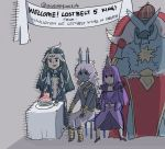 1girl 3boys arjuna_alter balloon banner black_eyes black_hair bodysuit cake chair crown dark_skin dark_skinned_male english_commentary eyeshadow fate/grand_order fate_(series) food forehead_jewel hat horns ivan_the_terrible_(fate/grand_order) makeup multicolored_hair multiple_boys party_hat party_horn pelvic_curtain qin_shi_huang_(fate/grand_order) scathach_(fate)_(all) scathach_skadi_(fate/grand_order) shirtless table two-tone_hair white_hair