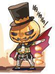 1girl arknights castlevania dracula_(castlevania) english_text fireball hat jack-o'-lantern kroos_(arknights) laughing leggings phandit_thirathon sarashi solo top_hat