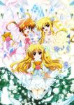 3girls alicia_testarossa alternate_costume blonde_hair blue_sky bouquet clouds cloudy_sky couple dress fate_testarossa flower hair_ornament happy holding_hands interlocked_fingers kawakami_shuuichi lyrical_nanoha mahou_shoujo_lyrical_nanoha mahou_shoujo_lyrical_nanoha_a's mahou_shoujo_lyrical_nanoha_innocent multiple_girls official_art open_mouth orange_hair red_eyes short_twintails sky smile syu1 takamachi_nanoha twintails violet_eyes wedding wedding_dress window yuri