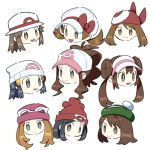 6+girls :d black_hair blue_(pokemon) brown_eyes brown_hair dawnlover_01 face green_headwear grey_eyes haruka_(pokemon) hat hat_ribbon highres hikari_(pokemon) kotone_(pokemon) light_brown_hair long_hair looking_at_viewer mei_(pokemon) mizuki_(pokemon) multiple_girls open_mouth pokemon pokemon_(game) pokemon_bw pokemon_bw2 pokemon_dppt pokemon_frlg pokemon_hgss pokemon_rse pokemon_sm pokemon_swsh pokemon_xy red_bandana ribbon serena_(pokemon) short_hair sidelocks simple_background smile sunglasses touko_(pokemon) white_background white_headwear yuuri_(pokemon)