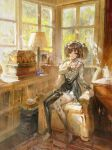 1girl absurdres book bookshelf couch cup highres kvpk5428 lamp original painting scenery sitting teacup twintails window