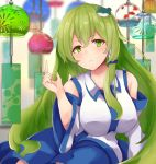 1girl arm_support arm_up blue_skirt blurry blurry_background breasts detached_sleeves eyebrows_visible_through_hair frog_hair_ornament green_eyes green_hair hair_between_eyes hair_ornament hair_tubes head_tilt highres index_finger_raised kochiya_sanae large_breasts leaning_to_the_side light_frown long_hair looking_at_viewer nontraditional_miko ri_cochet sidelocks sitting skirt solo touhou very_long_hair wind_chime