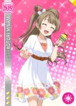 blush brown_hair character_name closed_eyes dress long_hair love_live!_school_idol_festival love_live!_school_idol_project minami_kotori smile