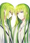 1other artist_name bangs closed_mouth collarbone ede enkidu_(fate/strange_fake) eyebrows_visible_through_hair eyes_visible_through_hair fate/grand_order fate_(series) from_side green_eyes green_hair hair_between_eyes highres long_hair looking_at_another otoko_no_ko robe simple_background smile twitter_username upper_body very_long_hair white_background