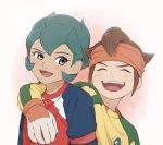 2boys blush brown_hair closed_eyes dark_skin fudou_akio gloves green_hair headband highres inazuma_eleven inazuma_eleven_(series) looking_at_another male_focus multiple_boys rococo_urupa smile