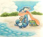 beach blue_sky charjabug closed_eyes clouds cloudy_sky commentary creature english_commentary full_body gen_6_pokemon gen_7_pokemon greninja mimikyu no_humans ocean on_lap outdoors pokemon pokemon_(creature) pokemon_on_lap sand shiwo_(siwosi) sky