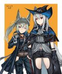 2girls animal_ears ark_john_up arknights belt belt_pouch black_capelet black_gloves black_headwear black_pants blue_coat blue_pants blush bracelet breasts brown_shirt capelet closed_mouth coat collared_shirt commentary cowboy_shot dated english_commentary eyebrows_visible_through_hair eyelashes gloves grani_(arknights) green_hair grey_jacket grey_neckwear hair_between_eyes hat highres horse_ears jacket jewelry locked_arms long_hair looking_at_viewer medal midriff multiple_girls navel neckerchief one_eye_closed open_clothes open_coat orange_background pants ponytail pouch red_eyes shirt side-by-side signature silver_hair simple_background skadi_(arknights) small_breasts smile standing striped sword thigh_cutout thigh_pouch thigh_strap thighs v vertical_stripes violet_eyes weapon white_gloves wing_collar