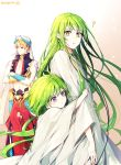 1boy 1other ? bangs blonde_hair blush closed_eyes collarbone crossed_arms ede enkidu_(fate/strange_fake) eyebrows_visible_through_hair fate/grand_order fate_(series) floating floating_hair gilgamesh gradient gradient_background green_hair hair_between_eyes headwear highres holding hug long_hair long_sleeves looking_at_another looking_down looking_to_the_side otoko_no_ko pants parted_lips purple_hair red_eyes red_pants robe short_hair simple_background sleeveless standing sulking very_long_hair vest waistcoat wide_sleeves yellow_eyes younger