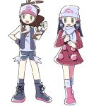 2girls :d baseball_cap beanie black_eyes black_wristband brown_hair commentary_request dawnlover_01 dress flat_chest hat highres korean_commentary long_hair multiple_girls open_mouth pokemon pokemon_(game) pokemon_bw pokemon_dppt pokemon_platinum scarf shorts simple_background smile white_background white_headwear white_scarf wristband