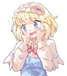 1girl alice_margatroid arnest bangs blonde_hair blue_dress blue_eyes blush bow bowtie capelet commentary dress eyebrows_visible_through_hair frilled_hairband frills hairband hands_on_own_cheeks hands_on_own_face hands_up head_tilt lolita_hairband long_sleeves open_mouth pink_bow pink_neckwear shirt short_hair simple_background solo touhou upper_body white_background white_capelet white_shirt