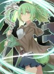 1girl :o bangs blue_skirt breasts brown_robe duel_monster eyebrows_visible_through_hair green_eyes green_hair green_ribbon grey_shirt hair_between_eyes hair_ribbon highres holding holding_staff hood hood_down hooded_robe long_sleeves open_clothes open_robe parted_lips pleated_skirt ponytail ribbon robe shirt sidelocks skirt sleeves_past_wrists small_breasts solo staff tadanoshi_kabane tail wide_sleeves wynn yuu-gi-ou