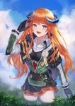 1girl absurdres arknights bagpipe_(arknights) belt belt_pouch black_gloves black_skirt blue_eyes blue_sky breasts clouds cloudy_sky collared_shirt cowboy_shot day dragon_horns eyebrows_visible_through_hair gloves green_jacket highres horns jacket long_hair long_sleeves longyu_(17767756) looking_at_viewer medium_breasts miniskirt open_mouth orange_hair outdoors plaid plaid_skirt plant pouch shirt skirt sky smile solo tactical_clothes thigh-highs thighs white_shirt wing_collar zettai_ryouiki