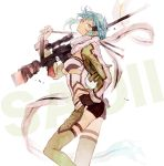 1girl aqua_hair bangs black_gloves blue_hair breasts closed_mouth fingerless_gloves floating from_side gloves green_legwear grey_eyes grey_scarf gun hair_ornament hairclip hand_on_hip holding holding_gun holding_weapon looking_at_viewer pgm_hecate_ii rifle scarf scope short_hair short_shorts shorts sidelocks simple_background sinon sniper_rifle solo standing sword_art_online weapon white_background yubari