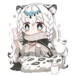 /\/\/\ 1girl animal_ear_fluff animal_ears arknights artist_name baby_bottle bangs beamed_eighth_notes black_cape blush bottle braid cape chibi commentary dress eyebrows_visible_through_hair grey_dress grey_eyes hair_between_eyes holding lemon_raimu leopard_ears leopard_tail long_hair long_sleeves musical_note pramanix_(arknights) rattle silver_hair simple_background sitting solo tail turtleneck_dress twin_braids twitter_username very_long_hair white_background