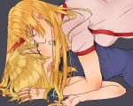 2girls alternate_costume bare_arms black_background blonde_hair blue_dress blush breasts breath commentary cuffs dress eye_contact eyebrows_visible_through_hair fang fingernails green_eyes hand_in_another's_hair highres horn hoshiguma_yuugi imminent_kiss long_hair looking_at_another lying medium_breasts mito_(mo96g) mizuhashi_parsee multiple_girls on_back open_mouth parted_lips pointy_ears red_eyes shackles shirt short_hair short_sleeves simple_background sleeveless sleeveless_dress star touhou upper_body very_long_hair white_shirt yuri