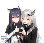 2girls animal_ear_fluff animal_ears arknights artist_name black_capelet black_coat black_hair breasts capelet character_name closed_mouth coat dated ear_piercing earrings eyebrows_visible_through_hair fang grey_eyes hair_between_eyes hair_ornament heart heart_hands heart_hands_duo highres jacket jewelry lappland_(arknights) leria_v long_hair long_sleeves looking_at_viewer medium_breasts multiple_girls open_mouth piercing side-by-side silver_hair simple_background slit_pupils smile sparkle texas_(arknights) thumbs_up upper_body white_background white_jacket wolf_ears yellow_eyes