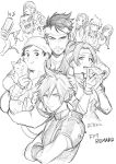 4boys 4girls aerith_gainsborough artist_request barret_wallace biggs_(ff7) cat cloud_strife commentary_request crossdressing eating father_and_daughter final_fantasy final_fantasy_vii final_fantasy_vii_remake food highres jessie_(ff7) marlene_wallace multiple_boys multiple_girls pizza sketch smile tifa_lockhart translation_request wedge_(ff7)