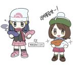 2girls beanie black_hair brown_eyes brown_footwear brown_hair commentary_request dawnlover_01 flat_chest food full_body green_headwear hat hikari_(pokemon) holding holding_food korean_commentary korean_text looking_at_viewer multiple_girls poffin pokemon pokemon_(game) pokemon_dppt pokemon_swsh shoelaces shoes simple_background skirt smoke sparkle standing translation_request white_background white_headwear yuuri_(pokemon)