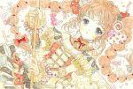 1girl blush bow braid braided_tail candy dress food grey_eyes hair_ornament halloween halloween_costume long_hair looking_at_viewer orange_hair original skirt solo takanashi_tsubasa twin_braids witch yellow_dress