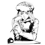 1girl beret closed_mouth greyscale hand_up hat holding ink_bottle long_hair long_sleeves monochrome priscilla_(the_witcher) quill ruukii_drift shirt simple_background solo the_witcher_3 thinking upper_body white_background