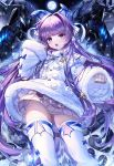 1girl azur_lane bangs blue_eyes blush brown_sweater commentary_request dress eyebrows_visible_through_hair full_moon fur-trimmed_dress fur-trimmed_sleeves fur_trim hair_intakes hand_up long_hair long_sleeves looking_at_viewer moon narae open_mouth purple_hair sleeves_past_fingers sleeves_past_wrists solo spikes sweater tashkent_(azur_lane) thigh-highs very_long_hair white_dress white_legwear