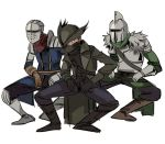 3boys armor bearer_of_the_curse bloodborne boots breastplate brown_footwear chosen_undead coat covered_mouth crossover dancing dark_souls dark_souls_ii fur_trim gauntlets hat helmet hunter_(bloodborne) jojo_no_kimyou_na_bouken male_focus mask mouth_mask multiple_boys open_clothes open_coat parody ruukii_drift simple_background souls_(from_software) standing torture_dance tricorne vento_aureo waist_cape white_background