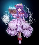 1girl aura bangs blue_bow book bow coat dress full_body fuwatoro_(enemy-of-society) grimoire hair_bow hat highres holding holding_book hydrokinesis long_hair looking_at_viewer mob_cap neck_ribbon overcoat patchouli_knowledge purple_dress purple_hair purple_headwear red_bow red_neckwear ribbon shoe_bow shoes solo striped striped_dress touhou violet_eyes water