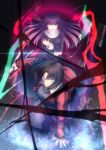 2girls asagami_fujino black_hair blue_eyes dress energy highres jacket japanese_clothes kara_no_kyoukai kimono knife lines_of_death long_hair migiha multiple_girls purple_hair red_eyes red_jacket reverse_grip ryougi_shiki