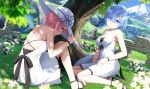 2girls alternate_costume blue_eyes blue_hair blue_sky breasts contemporary day detached_sleeves dress eyes_visible_through_hair from_behind grass hair_ornament hair_over_one_eye hair_ribbon haribote_(tarao) hat lake looking_at_viewer medium_breasts mountain multiple_girls outdoors pink_hair pink_ribbon ram_(re:zero) re:zero_kara_hajimeru_isekai_seikatsu red_eyes red_ribbon rem_(re:zero) ribbon river short_hair siblings sisters sitting sky sleeveless sleeveless_dress small_breasts smile sun_hat tree white_dress white_headwear x_hair_ornament