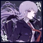 1girl artist_name bangs biting black_border black_gloves border braid captain_yue commentary danganronpa danganronpa_1 eyebrows_visible_through_hair floral_print glove_biting gloves hair_ribbon jacket kirigiri_kyouko long_hair necktie purple_hair red_neckwear ribbon shirt side_braid solo symbol_commentary twitter_username upper_body violet_eyes white_shirt