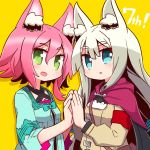2girls 7th_dragon_(series) 7th_dragon_2020 :d :o animal_ear_fluff animal_ears armband bangs blue_dress blue_eyes blush breasts brown_jacket commentary_request dress drop_shadow eyebrows_visible_through_hair green_eyes hair_between_eyes hands_together highres jacket long_hair long_sleeves lucier_(7th_dragon) marina_(7th_dragon) multiple_girls naga_u open_mouth palms_together parted_lips pink_hair purple_capelet short_hair small_breasts smile upper_body very_long_hair white_hair yellow_background