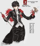 1boy adapted_costume amamiya_ren capelet chain character_name coat cowboy_shot crossover dagger english_text fire_emblem fire_emblem:_three_houses gun handgun highres medallion overcoat persona persona_5 pistol simple_background weapon yrfreakyneighbr