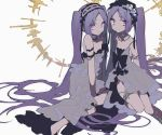 2girls bare_shoulders breasts dress euryale fate/hollow_ataraxia fate_(series) frilled_hairband frills hairband halo headdress highres long_hair looking_at_viewer mochizuki_kei multiple_girls purple_hair siblings simple_background sisters small_breasts smile stheno twins twintails violet_eyes white_background white_dress
