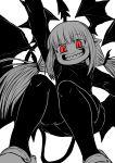 1girl absurdres black_shirt black_shorts demon_girl demon_tail demon_wings head_wings highres juugoya_(zyugoya) limited_palette lizette_(musuko_ga_kawaikute_shikatanai_mazoku_no_hahaoya) looking_at_viewer musuko_ga_kawaikute_shikatanai_mazoku_no_hahaoya pointy_ears red_eyes sharp_teeth shirt shorts tail teeth tied_hair wings