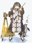 1girl arknights bangs bird brown_hair commentary_request drone gloves highres holding holding_walkie-talkie jacket long_sleeves looking_at_viewer magallan_(arknights) multicolored_hair open_mouth penguin satou_kibi shadow solo_focus streaked_hair walkie-talkie white_background white_gloves white_hair yellow_eyes