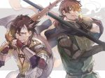 2boys black_eyes black_hair brown_eyes brown_hair cigarette facial_hair fate/grand_order fate_(series) goatee hector_(fate/grand_order) low_ponytail mandricardo_(fate/grand_order) multiple_boys over_shoulder polearm shield smoking spear sword weapon weapon_over_shoulder wiping_face wooden_sword