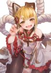 1girl :3 animal_ears bangs bare_shoulders blonde_hair blunt_bangs blurry blush braid breasts brown_eyes brown_legwear claw_pose clenched_hand depth_of_field detached_sleeves dog_ears erune eyebrows_visible_through_hair french_braid granblue_fantasy hair_ornament highres japanese_clothes looking_at_viewer nigo open_mouth pantyhose rope shimenawa short_hair sitting small_breasts smile solo vajra_(granblue_fantasy) wariza white_background wide_sleeves