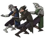 3boys armor assassin's_creed_(series) bearer_of_the_curse bloodborne boots breastplate brown_footwear chosen_undead coat covered_mouth crossover dancing dark_souls dark_souls_ii fur_trim gauntlets hat helmet hunter_(bloodborne) jojo_no_kimyou_na_bouken male_focus mask mouth_mask multiple_boys open_clothes open_coat parody ruukii_drift simple_background souls_(from_software) standing touhou tricorne vento_aureo waist_cape white_background