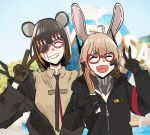 2girls amusement_park animal_ears closed_eyes eyepatch fake_animal_ears girls_frontline glasses gloves m16a1_(girls_frontline) m4_sopmod_ii_(girls_frontline) mmm_(ji1945) mouse_ears multiple_girls pose rabbit_ears scar scar_across_eye smile universal_studios v