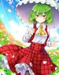 1girl aka_tawashi blue_sky clouds field flower flower_field green_hair highres kazami_yuuka long_sleeves looking_at_viewer outdoors pantyhose parasol petals plaid plaid_vest red_eyes red_skirt shirt short_hair skirt sky smile solo standing touhou umbrella vest white_shirt yellow_neckwear