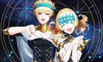 1boy 1girl armlet artist_request bare_shoulders black_shirt blonde_hair blue_eyes breasts brother_and_sister castor_(fate/grand_order) closed_eyes collar constellation diadem fate/grand_order fate_(series) hands_together jewelry medium_hair metal_collar necklace night night_sky open_mouth pauldrons pollux_(fate/grand_order) shirt short_hair siblings sky small_breasts smile star_(sky) thumbs_down twins white_robe