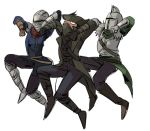 3boys armor assassin's_creed_(series) bearer_of_the_curse bloodborne boots breastplate brown_footwear chosen_undead coat covered_mouth crossover dancing dark_souls dark_souls_ii fur_trim gauntlets hat helmet hunter_(bloodborne) jojo_no_kimyou_na_bouken jumping male_focus mask mouth_mask multiple_boys open_clothes open_coat parody ruukii_drift simple_background souls_(from_software) standing touhou tricorne vento_aureo waist_cape white_background