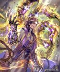 1boy brown_hair facial_hair floating floating_object gauntlets glowing grey_hair highres jewelry lee_hyeseung male_focus multicolored_hair necklace official_art priest red_eyes robe sash shadowverse smile solo streaked_hair