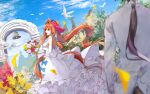 2girls :d absurdly_long_hair animal_ears arch bell bird blue_bow blue_sky blush bouquet bow breasts brown_hair clouds commentary_request daiwa_scarlet_(umamusume) day dress elbow_gloves flower frilled_dress frills gloves hair_bow highres horse_ears horse_girl horse_tail jacket large_breasts long_dress long_hair looking_back multiple_girls ninjin_nouka open_mouth outdoors petals ponytail purple_bow sky sleeveless sleeveless_dress smile spaghetti_strap tail tiara umamusume very_long_hair vodka_(umamusume) wedding wedding_dress white_bow white_dress white_gloves white_jacket